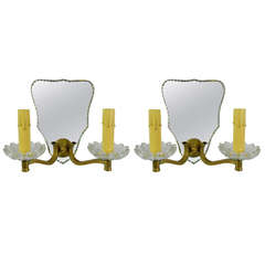 Circa 1940's Pair of French Venetian Style Mirrored and Brass Two Light Sconces