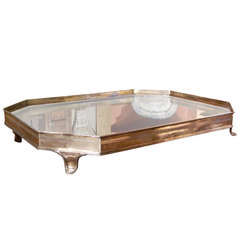 Late 19th Century English Silver Table Plateau or Tray with Mirrored Top