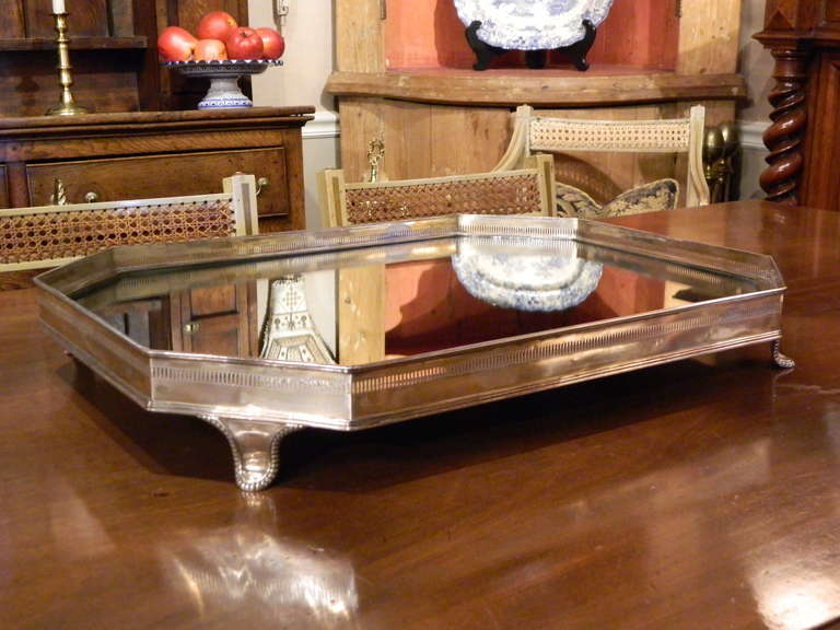 late 19th century english silver table plateau or tray with mirrored top at 1stdibs. Black Bedroom Furniture Sets. Home Design Ideas