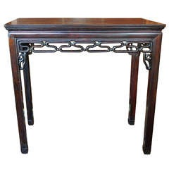 Rosewood Chinese Altar Table with Pierced Scrolled Fretwork, Mid-19th Century