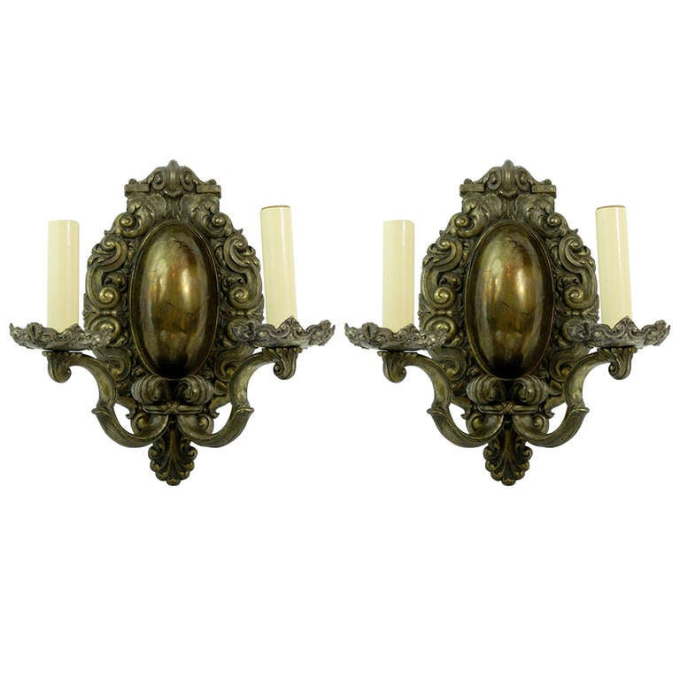 Circa 1890 Pair of Silvered Bronze Bradley and Hubbard Sconces