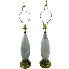 Circa 1950's Pair of Towering Murano Lamps on Brass Bases