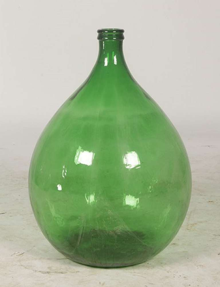 Early 20th century pair of italian green glass wine for Green glass wine bottles