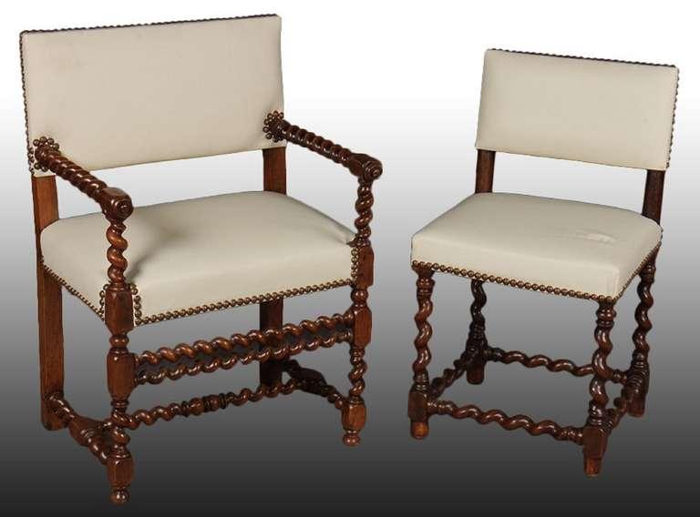 Late 19th Early 20th Century Set Of Twelve English Barley Twist Walnut Chairs