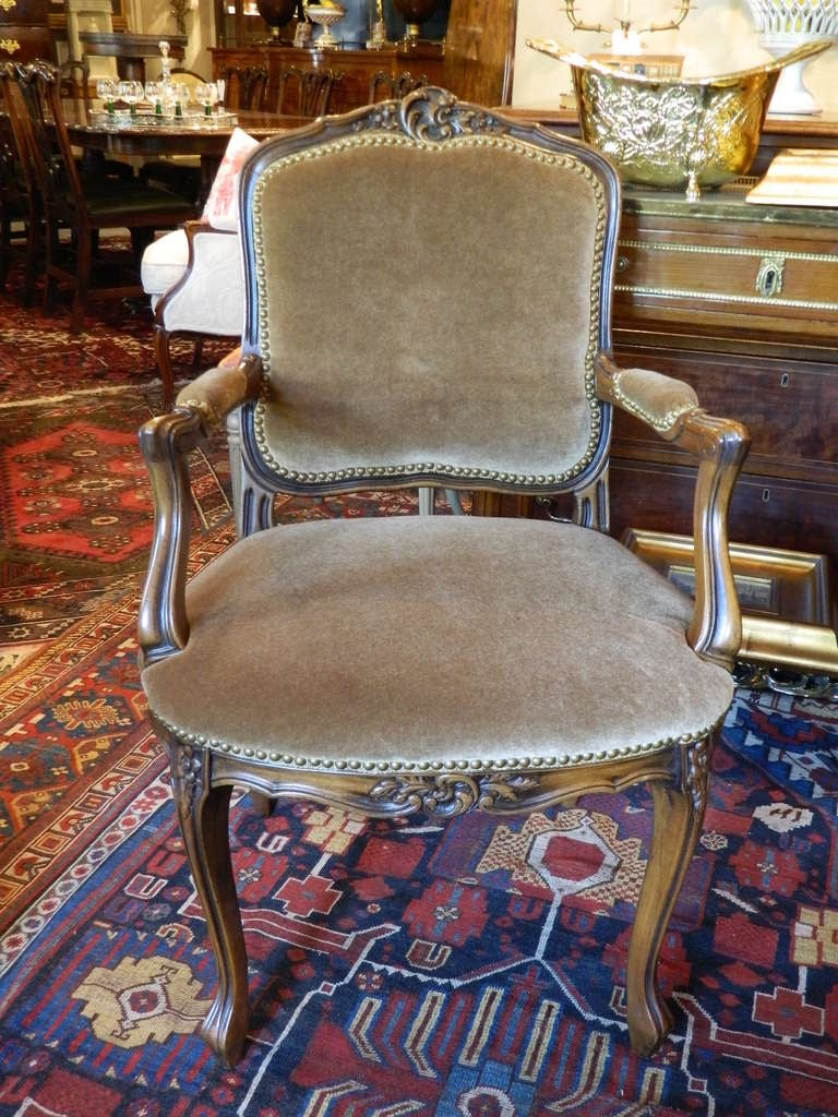Early 20th Century Louis XV Style Carved Arm Chair Upholstered in Mohair with Nail Head Trim