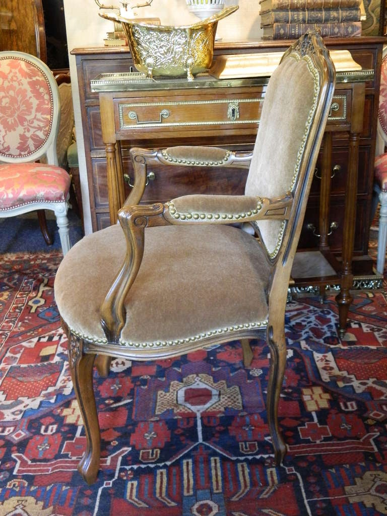 Louis XV Style Carved Arm Chair Upholstered in Mohair, Early 20th Century In Good Condition For Sale In Savannah, GA