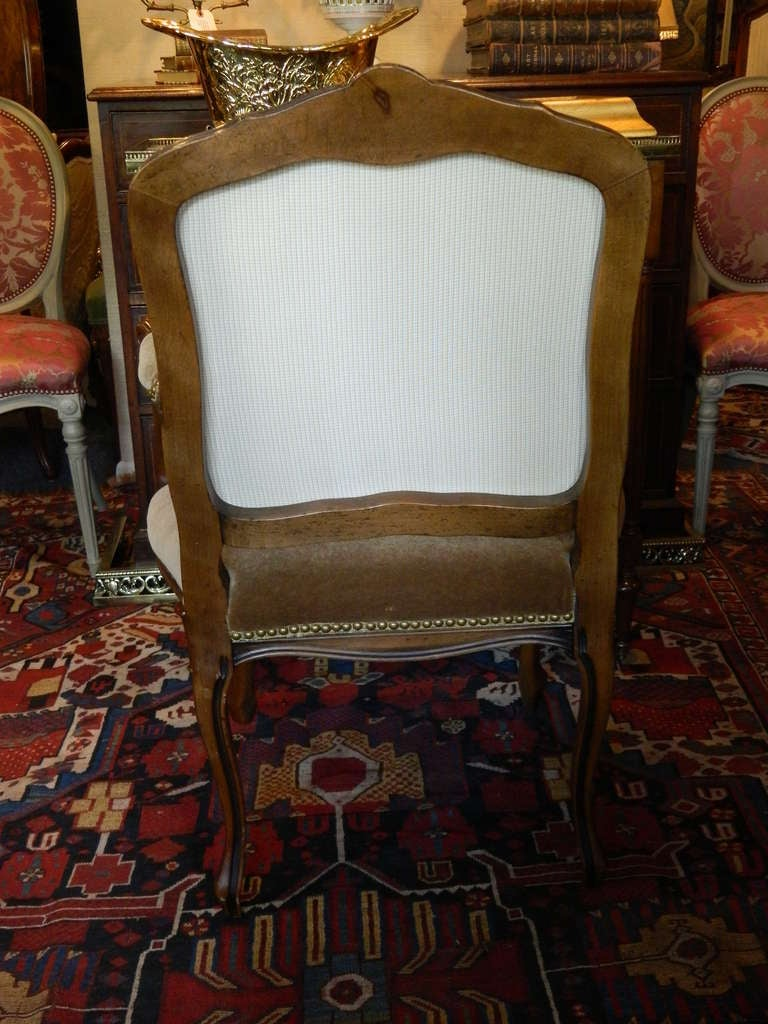 Louis XV Style Carved Arm Chair Upholstered in Mohair, Early 20th Century For Sale 1