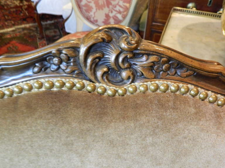 Louis XV Style Carved Arm Chair Upholstered in Mohair, Early 20th Century For Sale 3