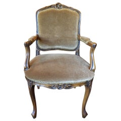 Louis XV Style Carved Arm Chair Upholstered in Mohair, Early 20th Century