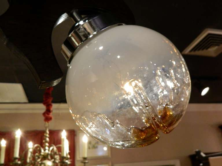 Murano Three Light Hanging Fixture Or Chandelier With