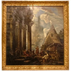 Italian Architectural Capriccio Oil on Canvas