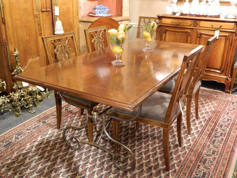 American Spanish-Style Mahogany and Silvered Metal Dining Table, Early 20th Century For Sale