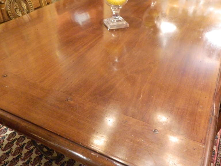 Spanish-Style Mahogany and Silvered Metal Dining Table, Early 20th Century In Excellent Condition For Sale In Savannah, GA
