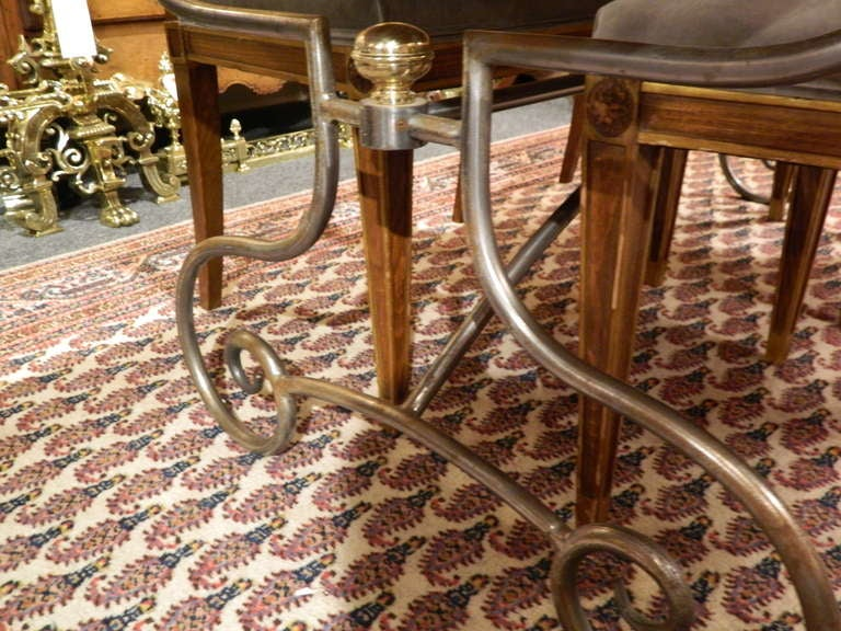 Spanish-Style Mahogany and Silvered Metal Dining Table, Early 20th Century For Sale 1