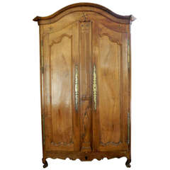 18th Century Louis XV Fruitwood Armoire with Stars and Flower Inlay