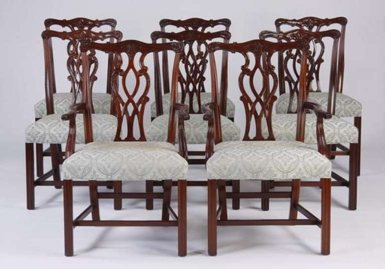 Wonderful Late 19th/Early 20th Century Set Of Eight Chippendale Style Dining Chairs 2