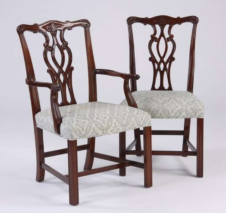 Late 19th Early 20th Century Set Of Eight Chippendale Style Dining Chairs At