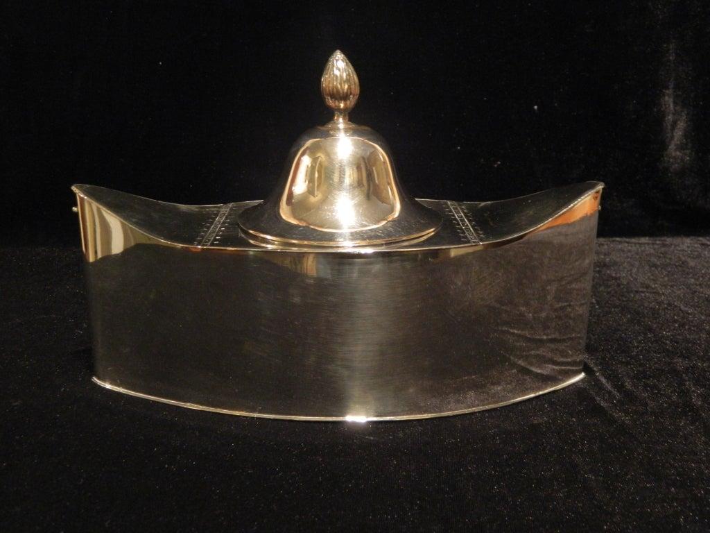 English Silver Caviar Boat On Diminutive Square Feet Late