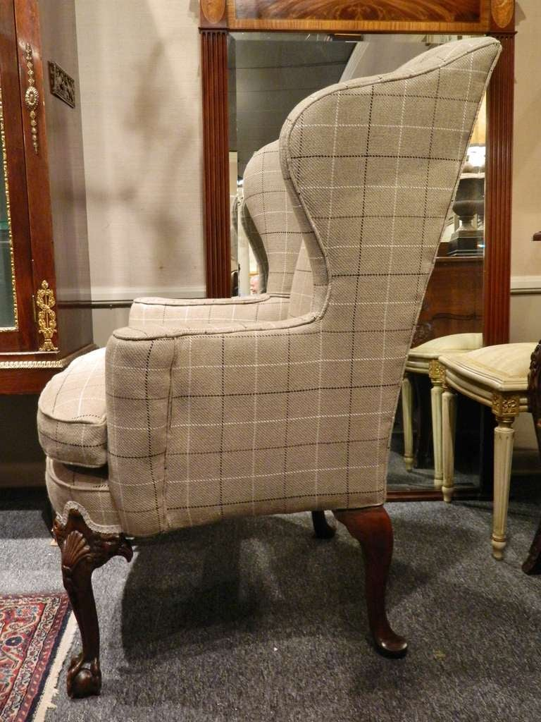 Chippendale Style Centennial Mahogany Wing Back Chair, Late 19th Century In  Excellent Condition For Sale