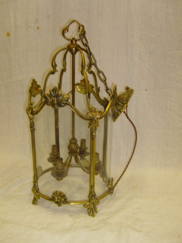 19th Century French Round Cast Brass Lantern with Curved Glass and a Ceiling Rose Canopy.  Dimensions:  21