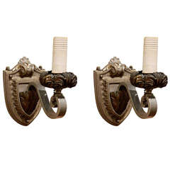 Circa 1910's Pair of Single Arm Gothic Revival Sconces Probably Caldwell