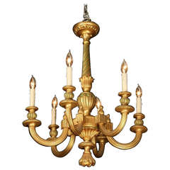19th Century Italian Carved Gilt Wood Six Light Chandelier