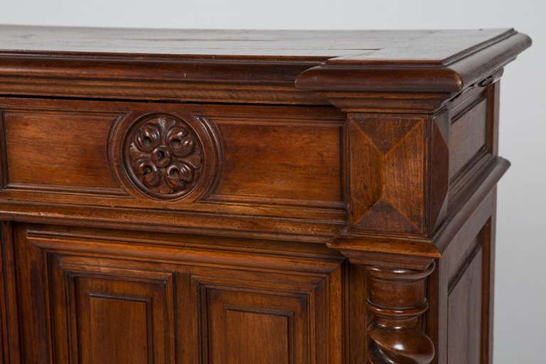 French Renaissance Style Walnut Sideboard or Side Cabinet, 19th Century For Sale 7