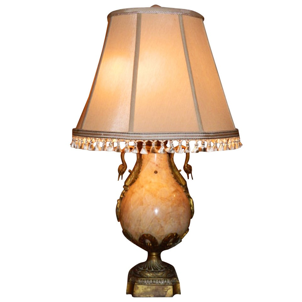 Empire Style Marble and Bronze Lamp, circa 1920s