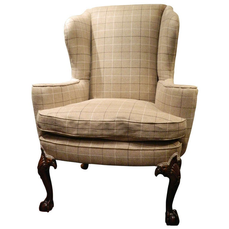 Chippendale Style Centennial Mahogany Wing Back Chair, Late 19th Century
