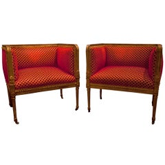 Pair of Upholstered and Gold Gilt Wood Bergere Chairs, 19th Century