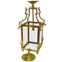 French Square Cast Brass Lantern with Beveled Glass and Ceiling Rose Canopy