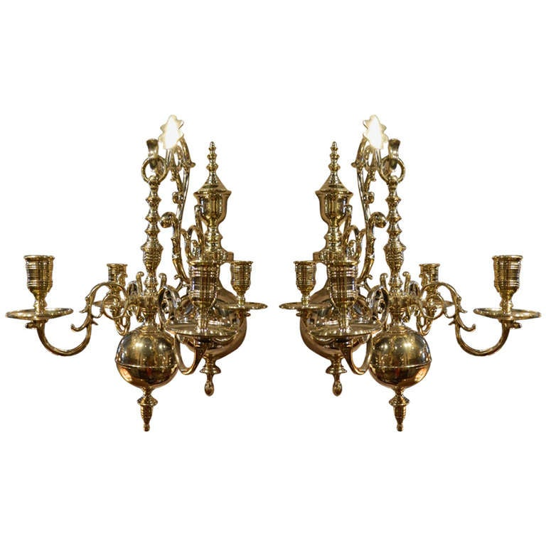 19th Century Pair of Four Brass Candle Chandelier Wall Sconces at 1stdibs