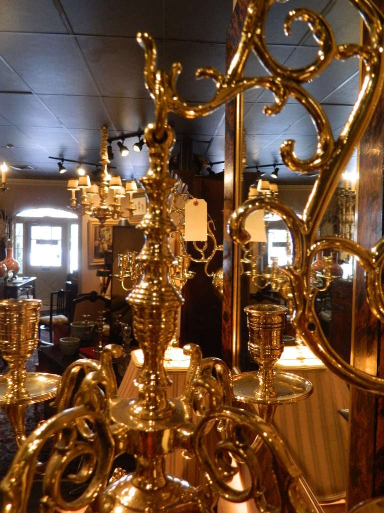 Chandelier Candle Wall Sconces : 19th Century Pair of Four Brass Candle Chandelier Wall Sconces at 1stdibs