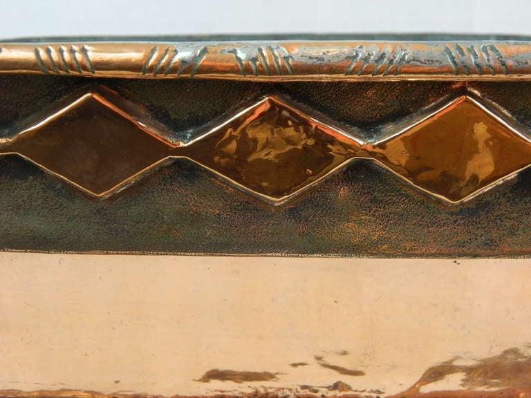 Italian Copper Planter Or Jardiniere With A Decorative Rim Trim