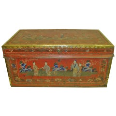 19th Century Leather and Brass Bound Camphor Trunk with Brass Handles