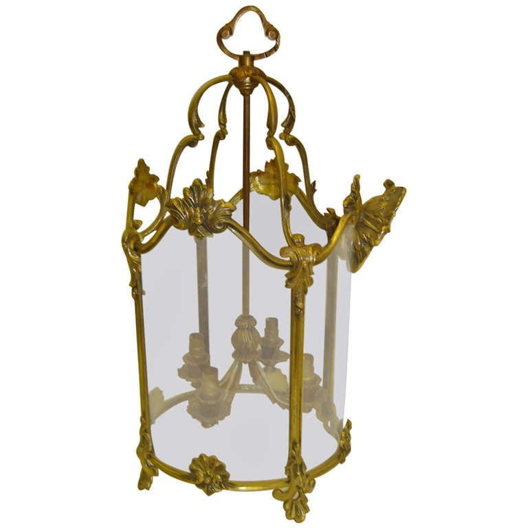 19th Century French Round Cast Brass Lantern