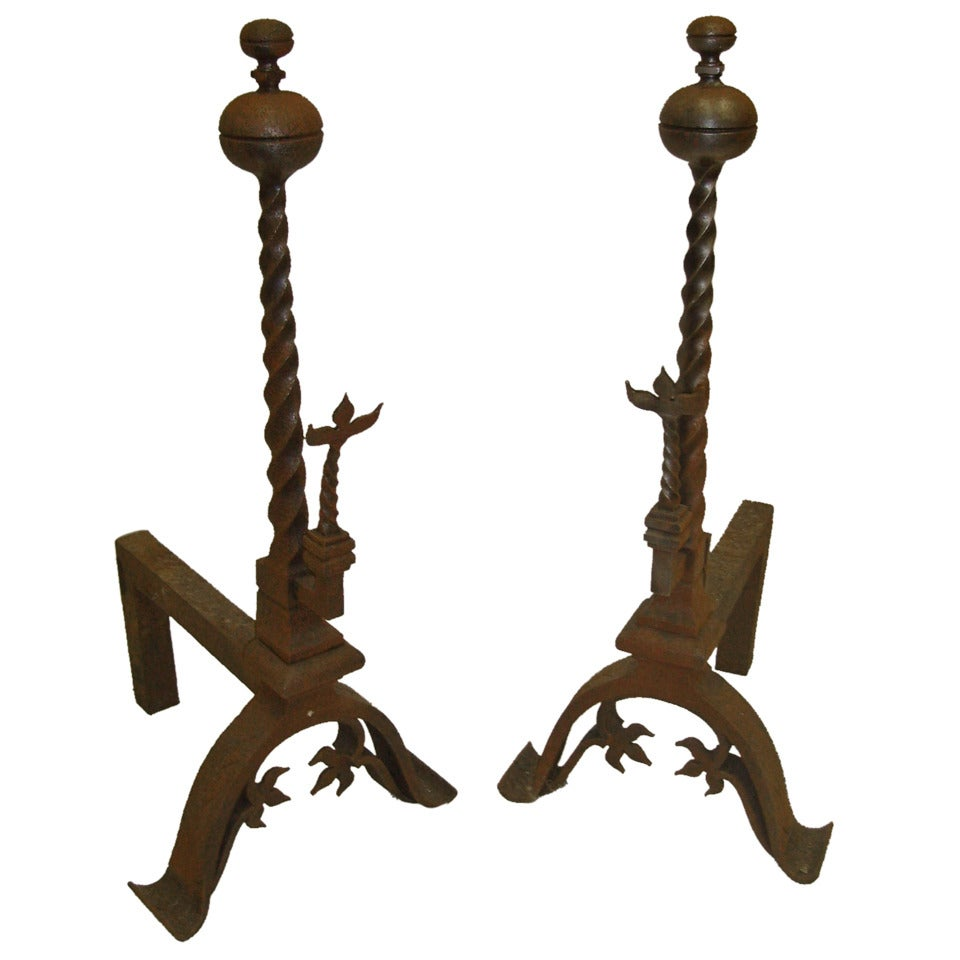 19th Century Pair of Decorative Iron Andirons or Chenets