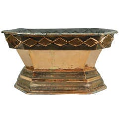 Italian Copper Planter or Jardiniere with a Decorative Rim Trim, 19th Century
