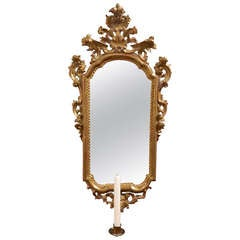 French Gold Gilt Mirror with a Candle Sconce, 19th Century