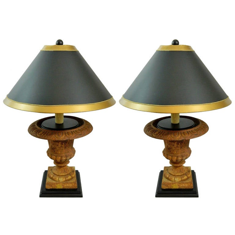 Pair of Early 20th Century French Cast Iron Urns Adapted as Lamps