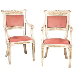 Late 19th Century Pair of Louis XVI Style Painted and Gold Gilt Armchairs