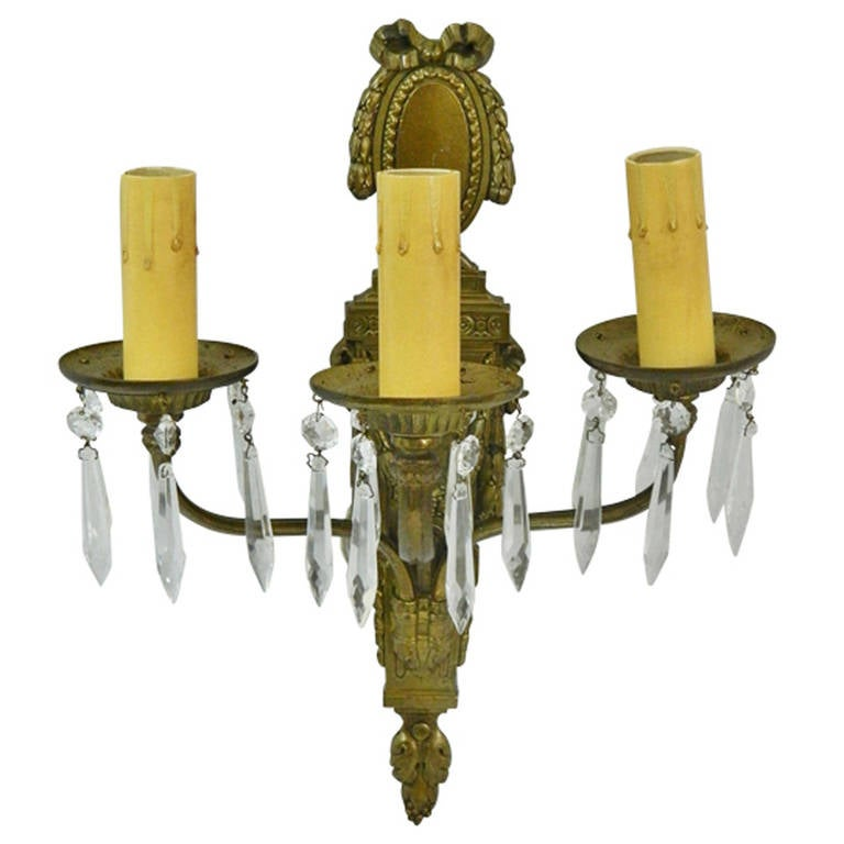 Caldwell Pair of 1920s Bronze Dore and Crystal, Three Arm Sconces For Sale
