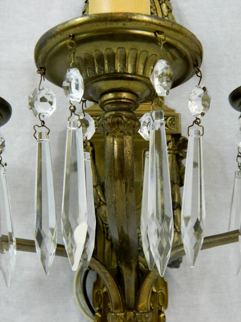 Caldwell Pair of 1920s Bronze Dore and Crystal, Three Arm Sconces For Sale 5