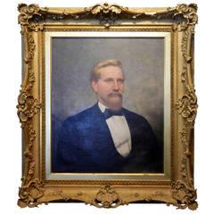 19th Century Large Oil on Canvas Portrait of John Irwin