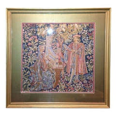 19th Century French Framed Needlepoint Tapestry Cartoon