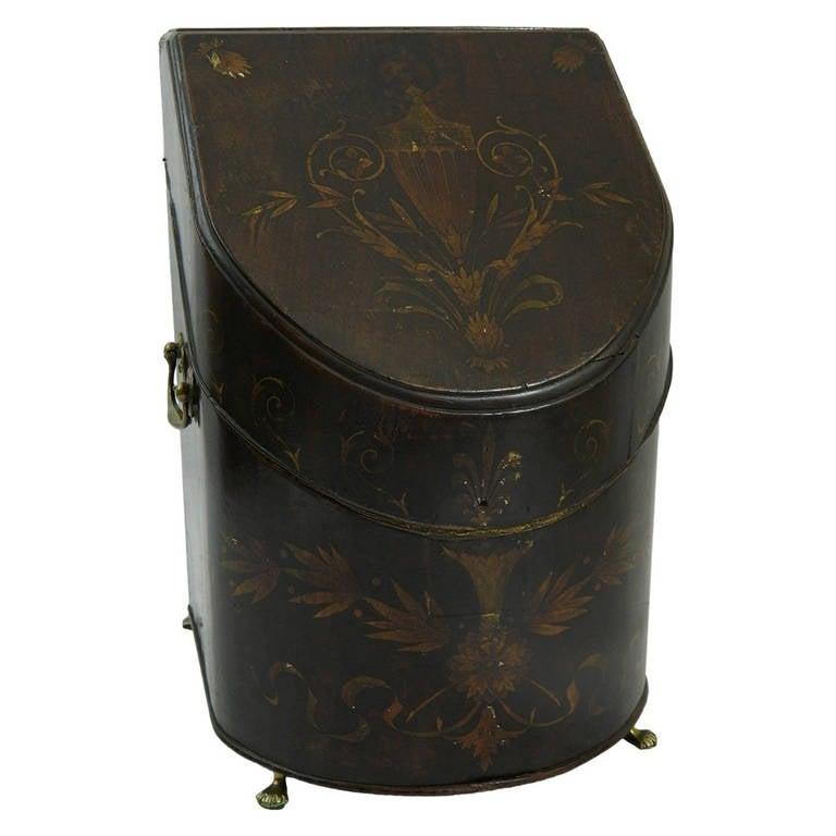18th Century Regency Inlaid Mahogany and Satin Knife Box with Brass Handles