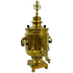 19th Century Russian Brass Samovar, in the Tulsky manner, Adapted as a Lamp