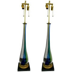 Pair of Elongated Teardrop Shaped Fluted Murano Glass Lamps, Circa 1950s