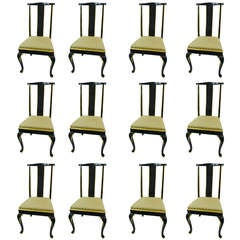 Set of Twelve Italian Dining Chairs with Cabriole Legs, Early 20th Century