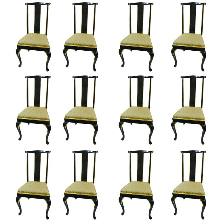 Set of Twelve Italian Dining Chairs with Cabriole Legs, Early 20th Century For Sale